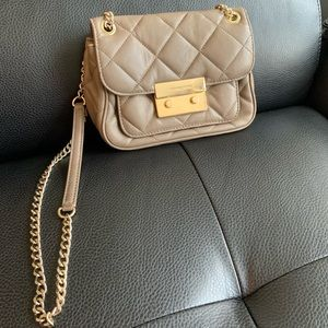 Michael Kors small gray quilted crossbody bag